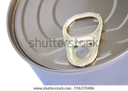 Tin Can Lid, Food Preserver Ring Pull Canister Sealed Top, Macro Close Up white background. - stock photo