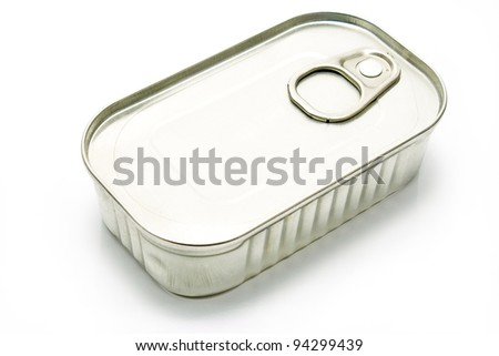 Tin Can of Sardines isolated on white - stock photo