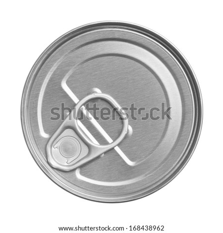 tin can on white background, view from the top - stock photo