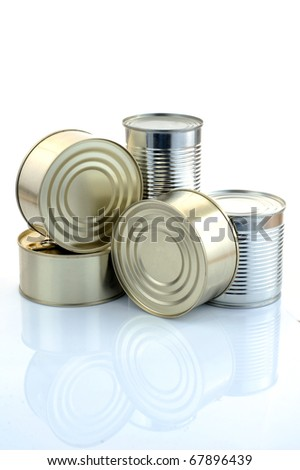Tin can over a white background