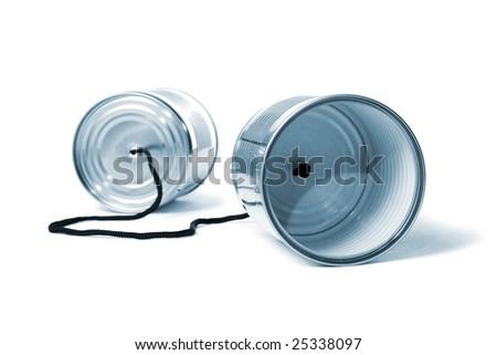 Tin can phone - stock photo