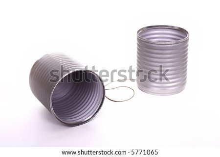 Tin can phone isolated over white background - stock photo