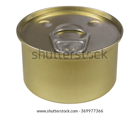 Tin can preserve isolated on white. Clipping path included. - stock photo