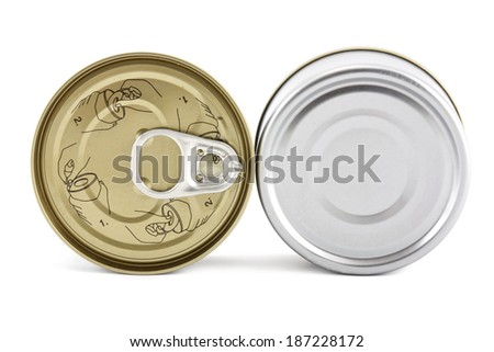 tin can (top - bottom) isolated on white - stock photo