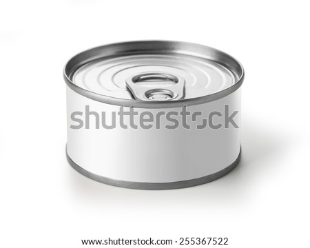 Tin Can with Copy Space Isolated on a White Background.with clipping path - stock photo