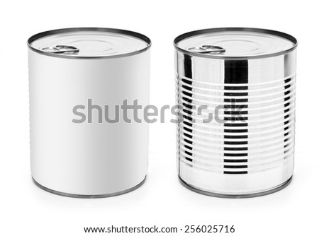 Tin can with ring pull: side, top view. Packaging collection.