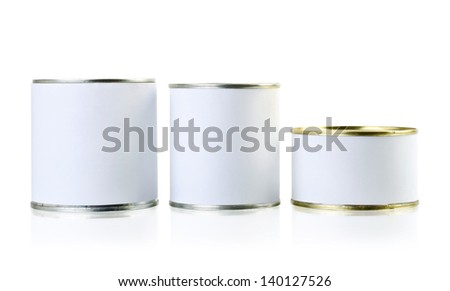 tin cans closed isolated over white. Food packaging - stock photo