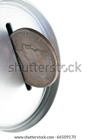 Tin money box bank, business and finance - stock photo
