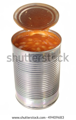 Tin of baked beans isolated on a white background