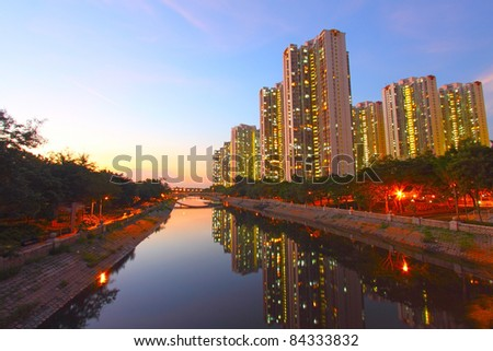 Tin Shui Wai at night, Hong Kong. It is one of the newest district in Hong Kong.