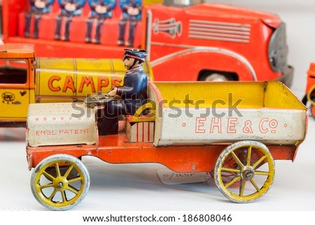 tin toy cars made ??by hand dating back to the early nineteen hundred - stock photo