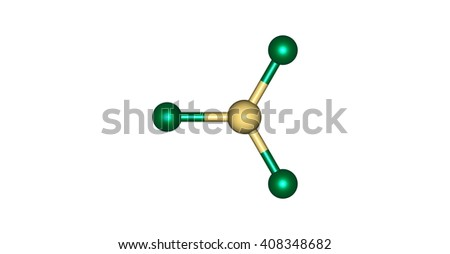 Tin trichloride is a white crystalline solid. 3d illustration