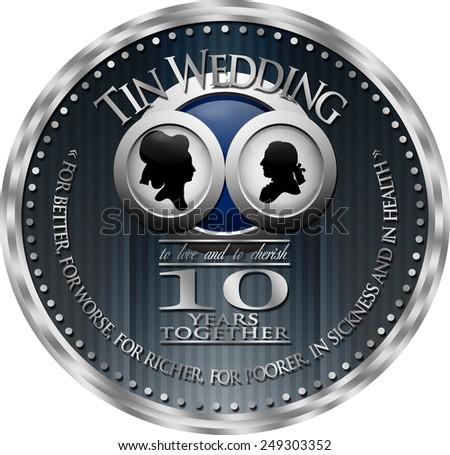 Tin Wedding 10th Anniversary Badge Baroque Stock Illustration