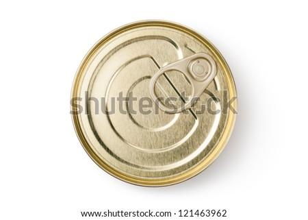 Tin with ring pull. Top view. Isolated on a white. - stock photo