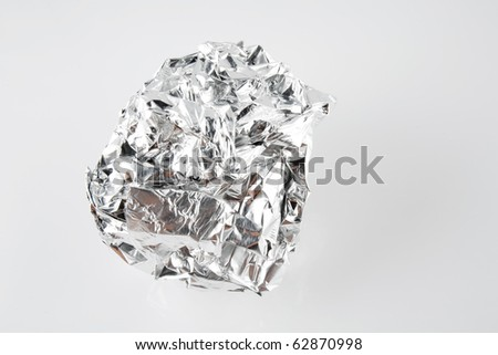 Tinfoil Ball Isolated on White Background - stock photo