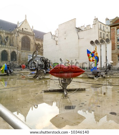 Tinguely fountain, Center of Modern Arts. Paris,January2008 - stock photo