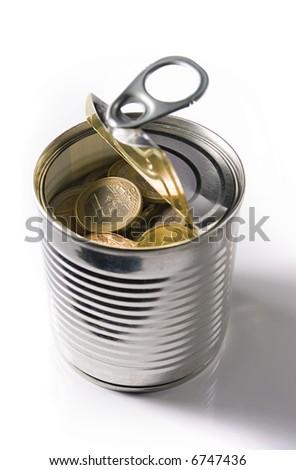 tinned euro coins - stock photo