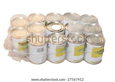 tinned food under the light background - stock photo