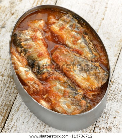 Tinned Sardines In Tomato Sauce ,Close Up - stock photo