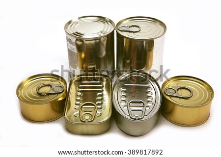 Tins of different sizes and closed isolated on white background - stock photo