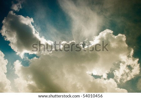 tinted heavy clouds - stock photo