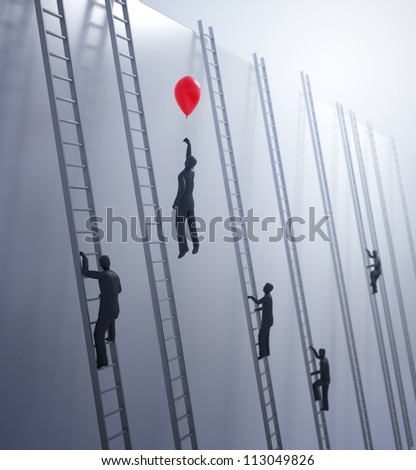 Tiny abstract people climbing ladders - innovation and advantage in business concept - stock photo