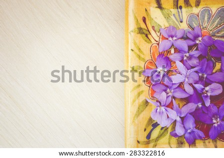 tiny ans selicate violets blossoms on a porcelain and bright wood background - stock photo