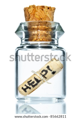 tiny bottle with help message - stock photo