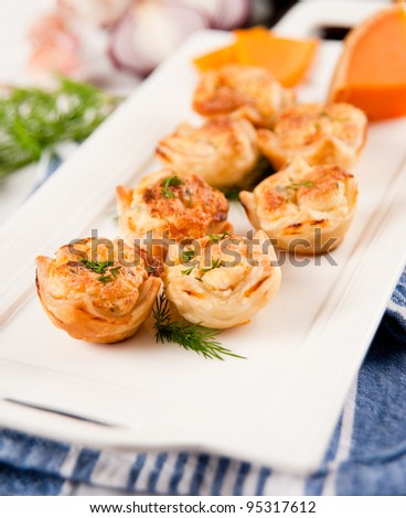 Tiny Cheese and Ham Bites for Snack - stock photo