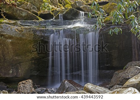 Tiny Falls in the Great Smoky Mountains in Tennessee - stock photo
