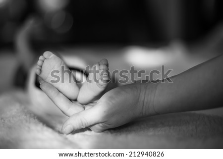 Tiny feet of newborn baby - stock photo