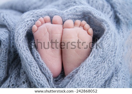 tiny foot of newborn baby  - stock photo
