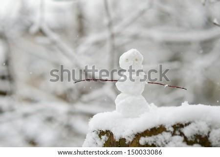 Tiny little snowman on beautiful winter day - stock photo