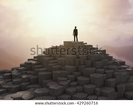 Tiny man figure standing on a rocky top of a mountain - 3D illustration - stock photo