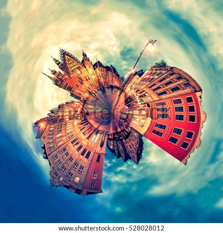 Tiny planet of Wroclaw Market Square with Town Hall during sunset evening, Poland, Europe. Panoramic montage from 27 HDR Photos with post processing effects