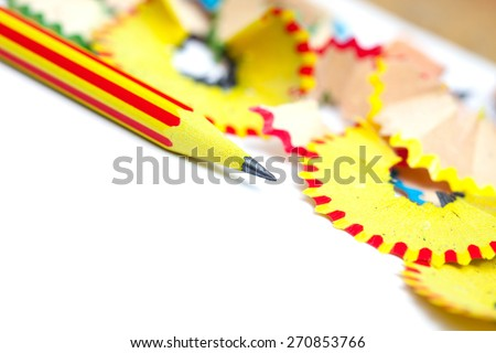 tip of a striped pencil. close-up, shallow depth of field - stock photo