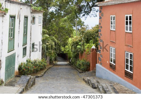 tipical street of a canary village - stock photo