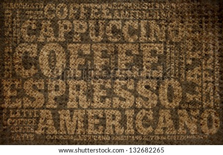 Tipographic printing text on burlap fabric