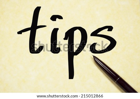tips word write on paper  - stock photo
