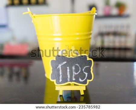 Tips yellow Bucket - stock photo