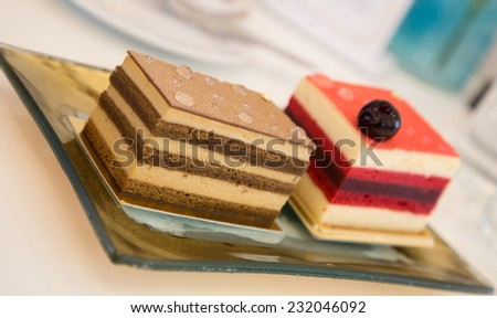 tiramisu and berry cake served on the golden plate - stock photo