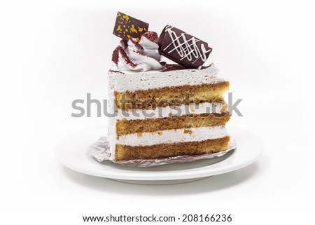 Tiramisu Cake In White Background - stock photo