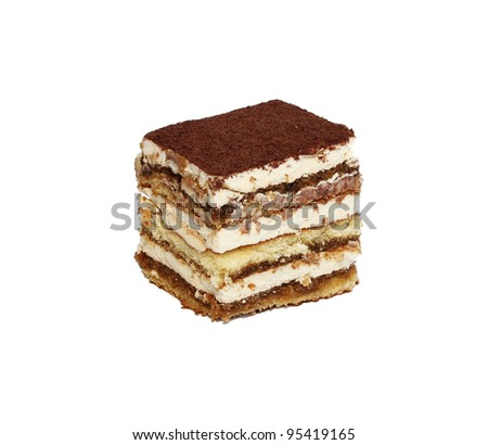 tiramisu cake  isolated on white - stock photo
