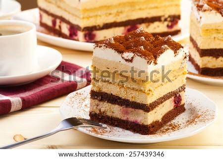 tiramisu cake on plate served with a cap of coffee - stock photo
