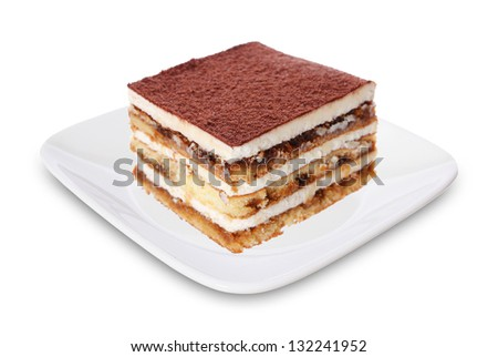 tiramisu cake on white plate isolated on white background - stock photo