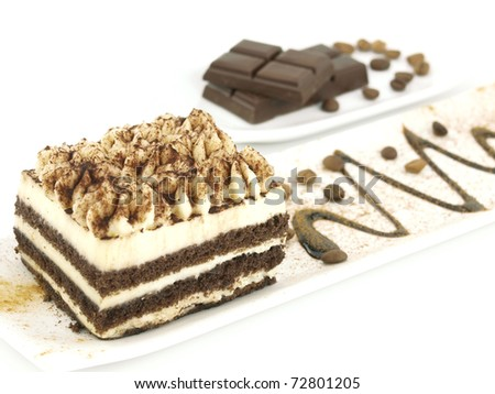 Tiramisu dessert on a white plate - stock photo