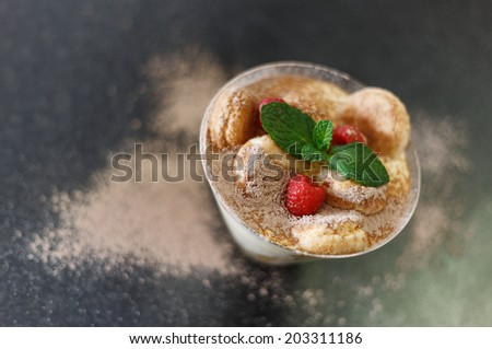 Tiramisu garnished with raspberry and mint in a glass bowl. Selective focus, shallow Depth of Field. Art photo - stock photo