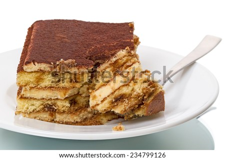 Tiramisu - Italian layered dessert, consisting of the following ingredients: mascarpone cheese, coffee (usually espresso), eggs, sugar and biscuits Savoyardy. Typically, dessert sprinkled cocoa powder - stock photo