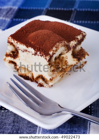 Tiramisu. Portion of tiramisu on a plate. - stock photo