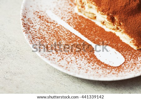 Tiramisu, traditional Italian dessert on a white plate. Close up. Copy-space